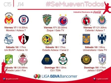 Partidos de la Jornada 14 del Clausura 2015 en la Liga MX