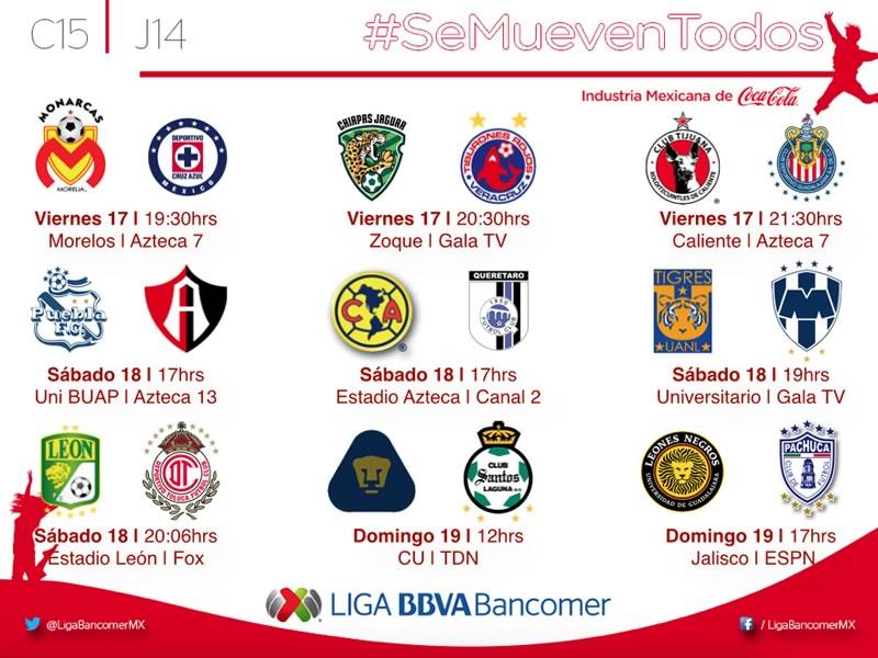 Partidos de la Jornada 14 del Clausura 2015 en la Liga MX - Partidos-Jornada-14-Clausura-2015-Liga-MX