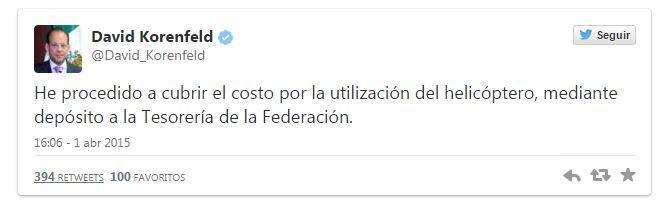 Director de CONAGUA se disculpa por uso de Helicóptero oficial para fines personales - TwwetConagua02