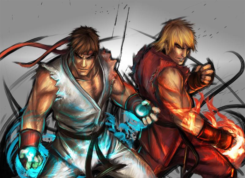 Top 5 de los Mejores Videojuegos de Peleas - Street_Fighter__Ryu_Ken_by_YamaO-800x582
