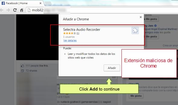 Propagan video para adultos en Facebook que instala extensión en Chrome ¡Cuidado! - Extension-maliciosa-chrome