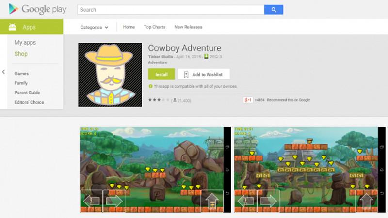 Dos juegos roban contraseñas de Facebook a medio millón de usuarios Android - Cowboy-Adventure-app-800x450