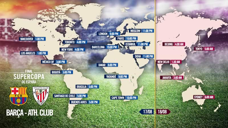 A qué hora juega Barcelona vs Athletic la vuelta de la Supercopa de España - Horario-Barcelona-vs-Athletic-Supercopa-Espana-2015