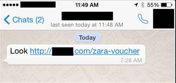Campaña maliciosa en WhatsApp ahora usa a Zara y H&M como gancho - Mensaje-falso-Zara-WhatsApp