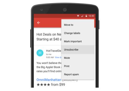 Gmail habilita opción para bloquear remitentes y eliminar suscripciones