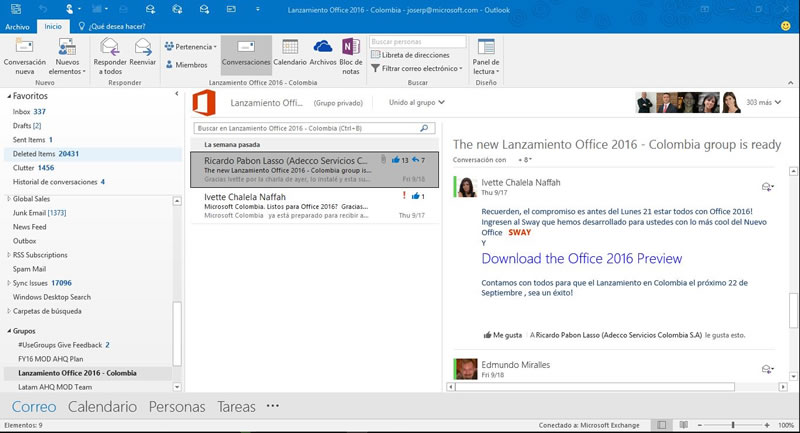 Microsoft Office 2016 ya está disponible para descargar - Office-2016-Outlook
