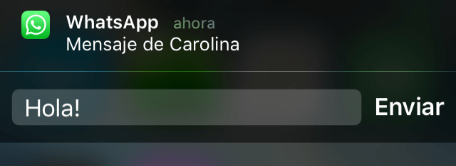 WhatsApp se actualiza con soporte a 3D Touch en iPhone 6S - whatsapp-notification-bar