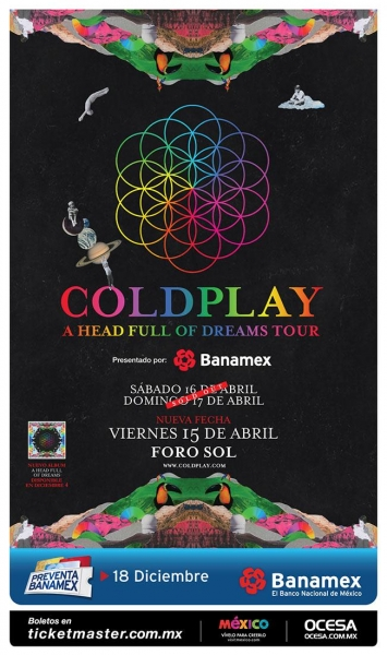 nueva fecha coldplay en mexico 2016 Coldplay anuncia tercera fecha en México