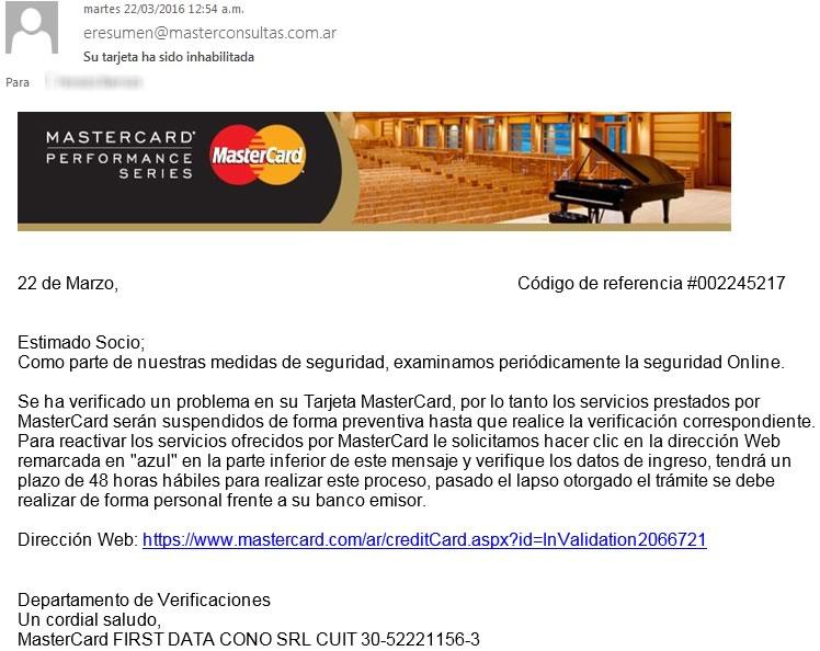 Campaña de phishing simula ser MasterCard para robar datos de clientes - correo-falso-mastercard