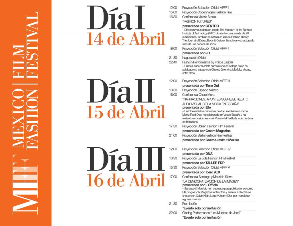 México Fashion Film Festival 2016 anuncia su programa y novedades - programa_mfff