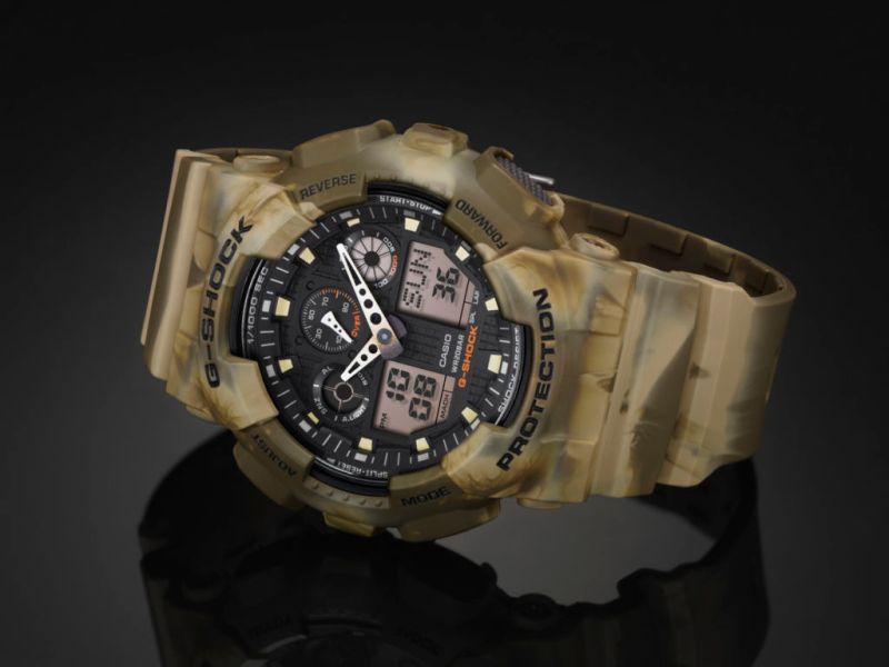 Camouflage serie G-Shock, diseño marmoleado en la que ninguna pieza es idéntica - ga-100mm-5a_01-800x600