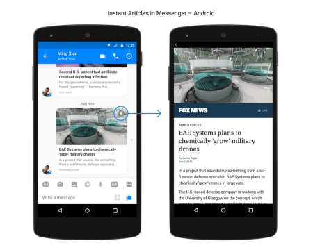 Instant Articles llega a Facebook Messenger