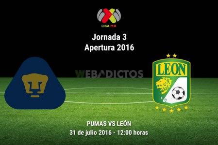 Pumas vs León, Jornada 3 del Apertura 2016 ¡En vivo por internet!