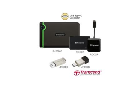 Productos Transcend con conexiones USB Tipo-C, para dispositivos móviles y computadoras