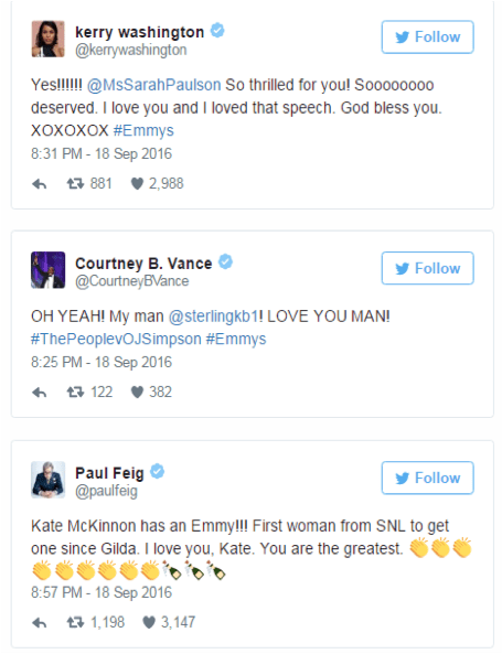 Cómo se vivieron los #Emmy 2016 en Twitter - twitteando-emmy