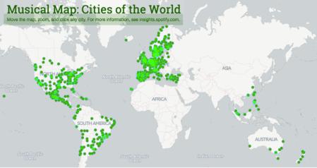 Spotify presenta el Mapa Musical Mundial 2.0