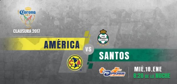 América vs Santos, Jornada 1 de Copa MX C2017 | Resultado: 3-2 - america-vs-santos-copa-mx-clausura-2017-en-vivo