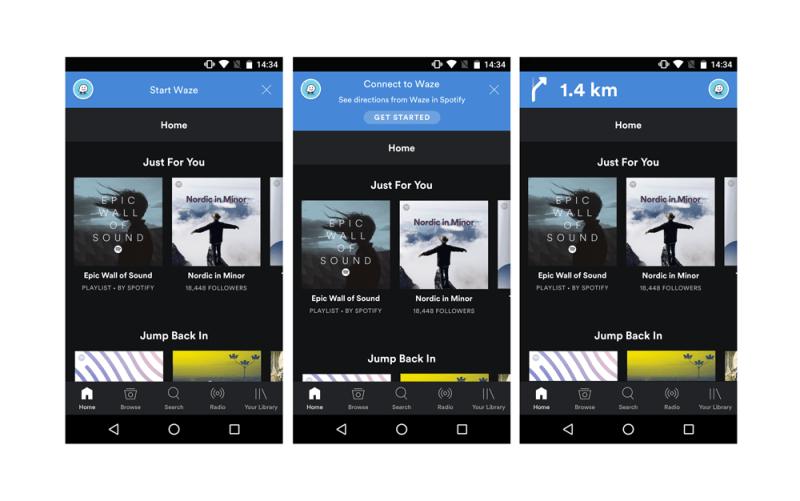 Ahora podrás acceder a tus playlists de Spotify desde Waze - waze_spotify-800x501