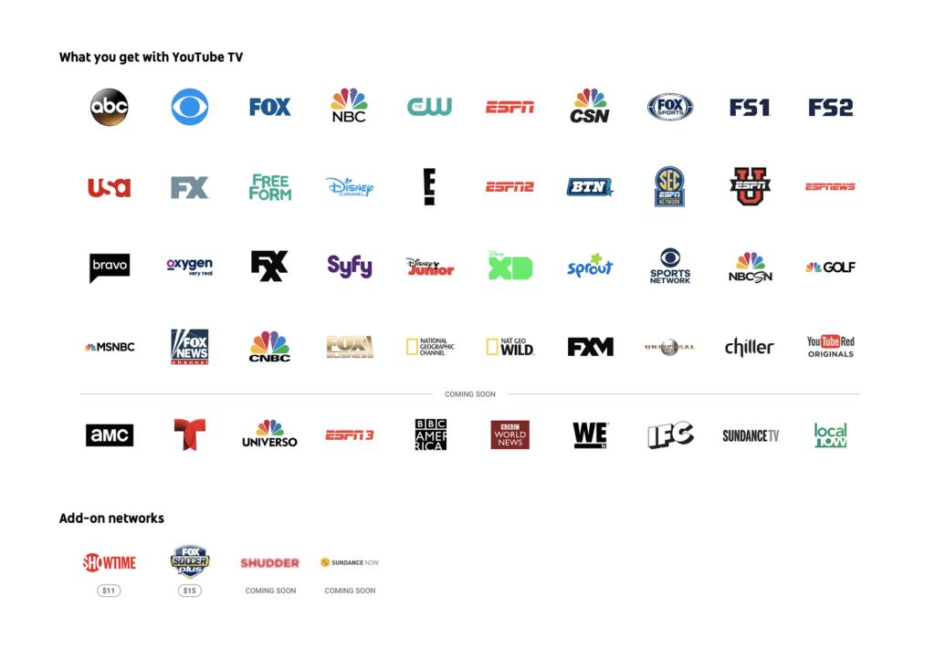 YouTube TV ya se encuentra disponible en los Estados Unidos - youtube-tv-channels