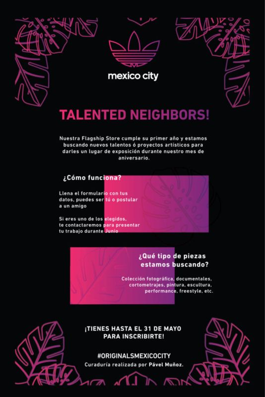 talented neighbors cdmx 534x800 Talented Neighbors: convocatoria de adidas Originals Flagship Store CDMX para encontrar talento