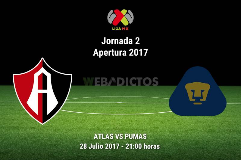 Atlas vs Pumas, Liga MX Apertura 2017, Jornada 2 | Resultado: 2-1 - atlas-vs-pumas-j2-apertura-2017