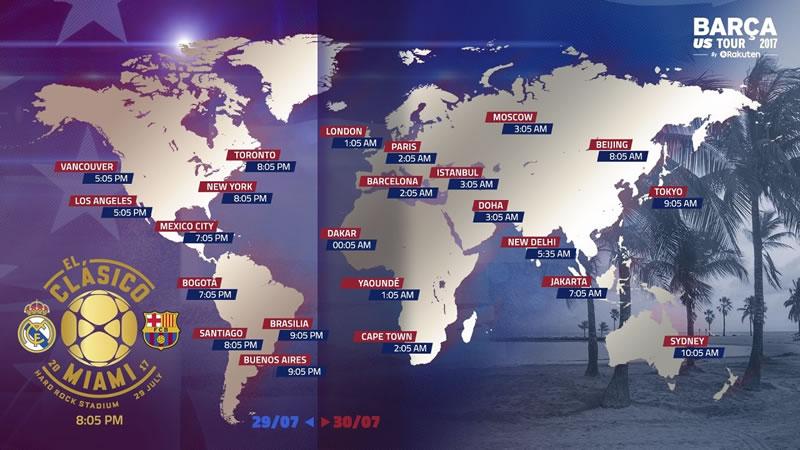 horarios barcelona vs real madrid clasico miami 2017 Horario Barcelona vs Real Madrid y canal; El Clásico en Miami