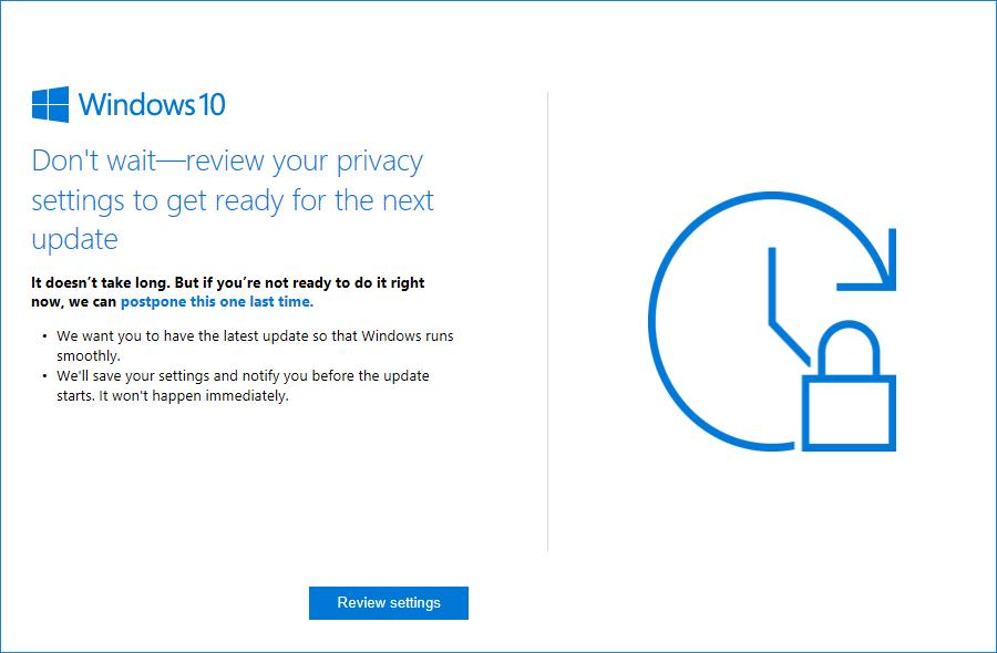 Microsoft se asegurará de que instales las actualizaciones importantes de Windows 10 - posponer-actualizaion