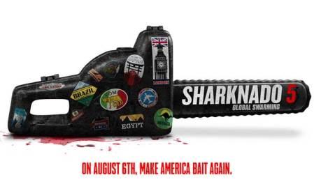 Gran estreno de la quinta saga de Sharknado 5: Global Swarming por Syfy