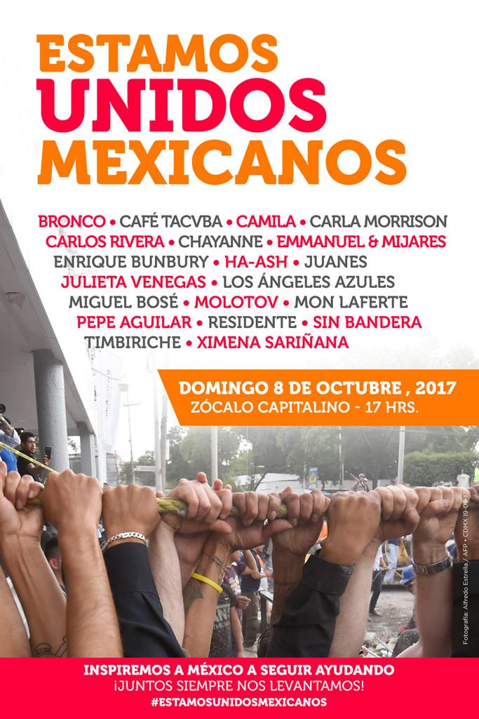 estamos unidos mexicanos cartel Estamos Unidos Mexicanos, el concierto para apoyar a México