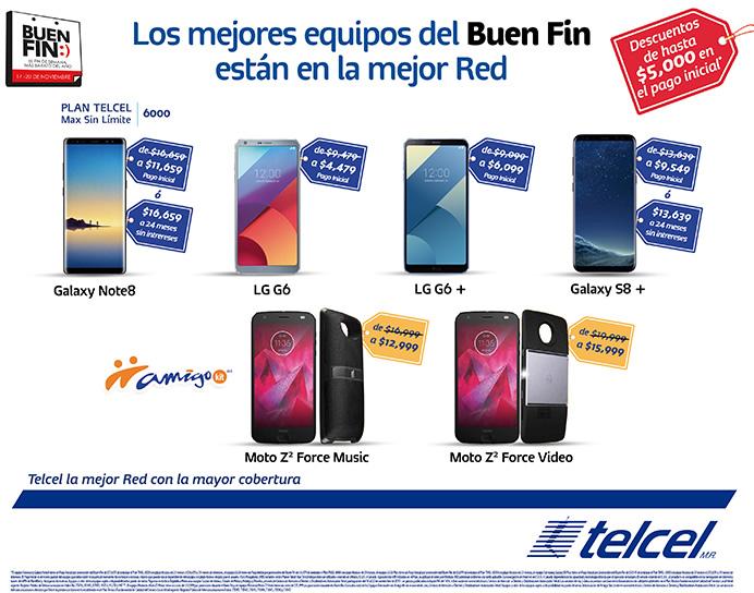 celulares descuento telcel El Buen Fin 2017 en Telcel; promociones en celulares, amigo kit y planes