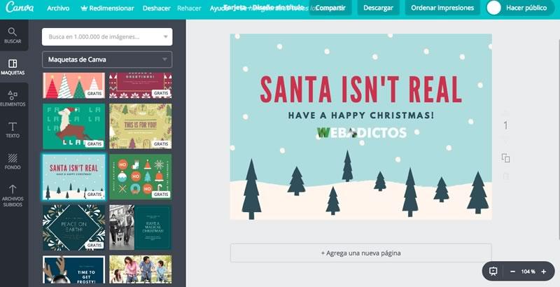 Tarjetas de navidad 2017 para imprimir o enviar por redes for Crear tarjetas de navidad