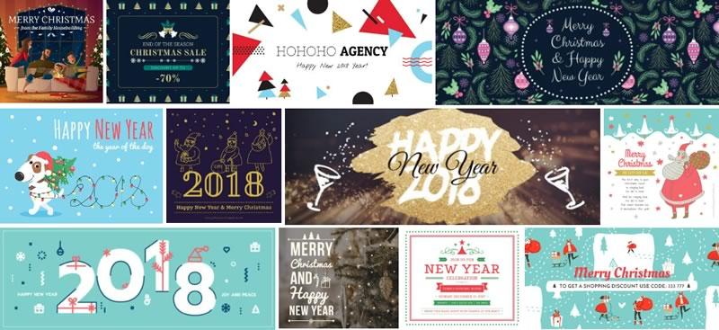 Tarjetas de navidad 2018 para imprimir o enviar por redes sociales - postales-de-navidad-2017-crello-800x367