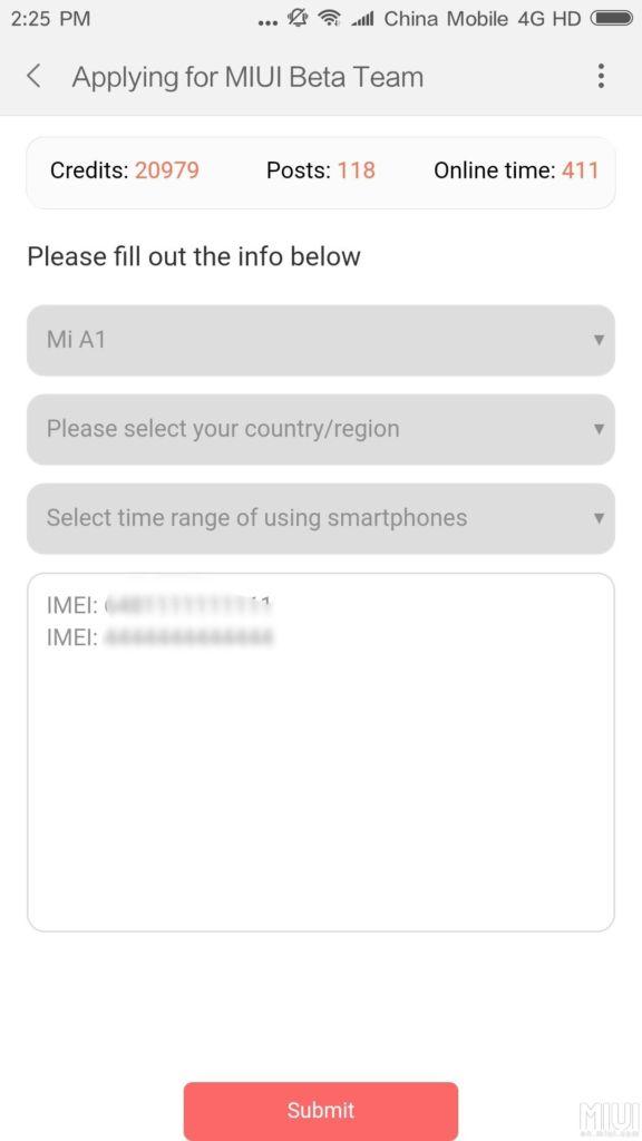 Xiaomi está reclutando a usuarios del Mi A1 para probar la actualización a Android Oreo 8.0 - recruitment-screen