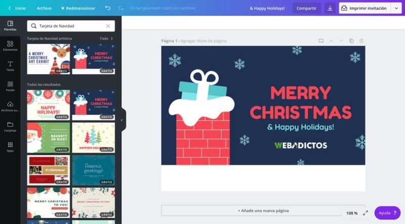 Tarjetas de navidad 2018 para imprimir o enviar por redes sociales