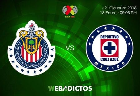 Chivas vs Cruz Azul, J2 del Clausura 2018 | Resultado: 1-3