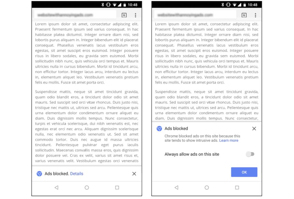 Así luce el bloqueador de anuncios de Chrome en Android