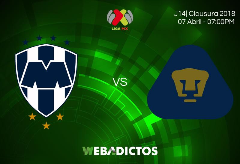 Monterrey vs Pumas, Jornada 14 de Liga MX C2018 ¡En vivo por internet! - monterrey-vs-pumas-clausura-2018-jornada-14