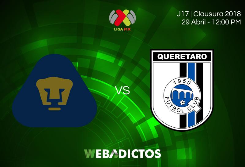 Pumas vs Querétaro, Jornada 17 del C2018 ¡En vivo por internet! - pumas-vs-queretaro-clausura-2018