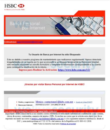 Advierte por correos engañosos vinculados a HSBC