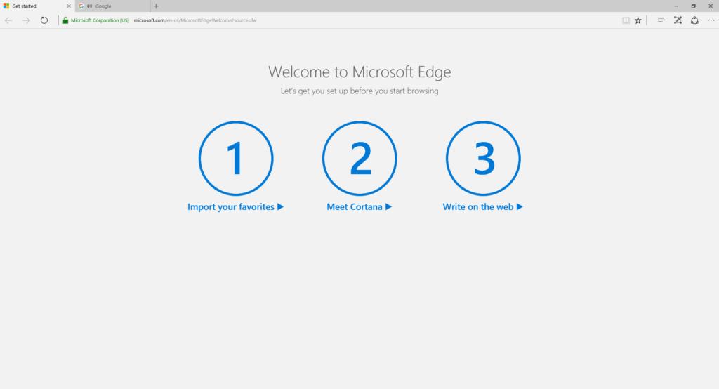 Windows 10 Insider interrumpe la instalación de otros navegadores para convencerte de usar Microsoft Edge - microsoft-edge-welcome