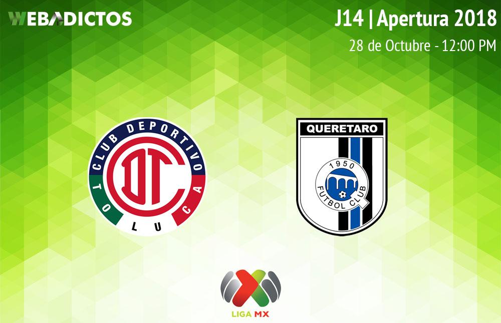 Toluca vs Querétaro, Jornada 14 Apertura 2018 ¡En vivo por internet! - toluca-vs-queretaro-apertura-2018
