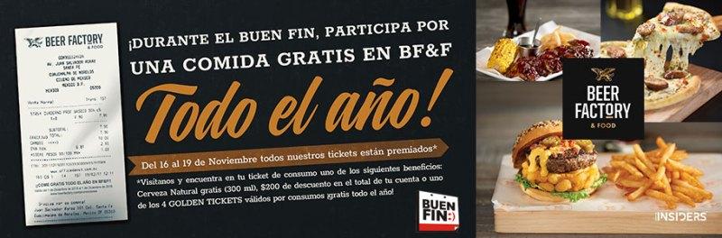 Participa para ganar comidas gratis en Beer Factory & Food todo el año, en este BUEN FIN