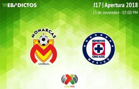 Morelia vs Cruz Azul, Jornada 17 de Liga MX A2018 ¡En vivo por internet!