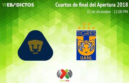 Pumas vs Tigres, Cuarto de final Apertura 2018 ¡En vivo por internet!