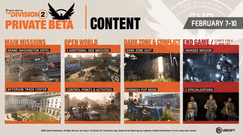 Ubisoft anuncia el contenido de la Beta Privada de Tom Clancy's The Division 2 - beta-privada-de-tom-clancys-the-division-2