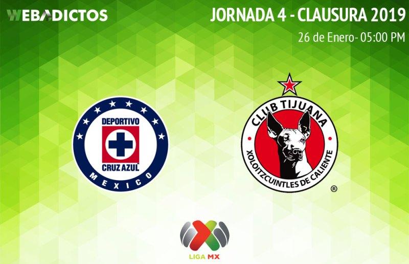 Cruz Azul vs Tijuana, J4 del Clausura 2019 ¡En vivo por internet! - cruz-azul-vs-tijuana-clausura-2019