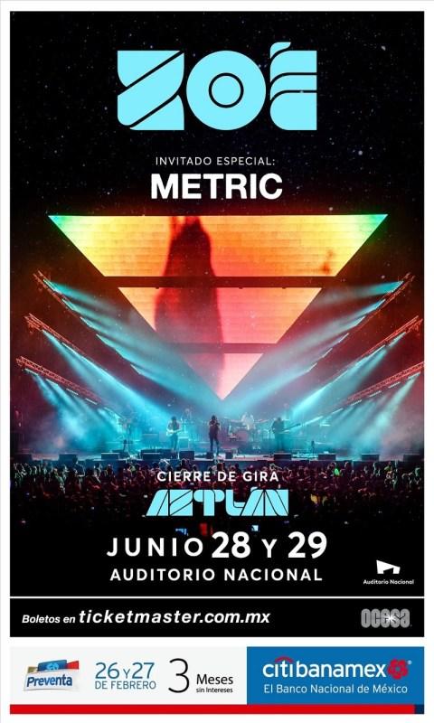 Zoé & Metric juntos por primera vez en la Cuidad de México el 28 y 29 de junio - zoe-metric