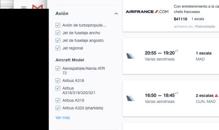 KAYAK lanza nuevo filtro para que ahora ya puedas elegir el modelo de avión