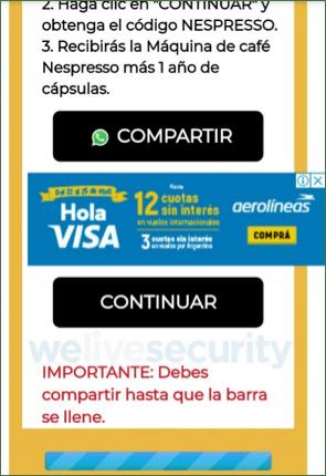 Phishing activo promete cafetera Nespresso gratis a través de WhatsApp - la-barra-completa-muestra-que-el-mensaje-se-reenvio-a-la-cantidad-de-contactos-que-exigia