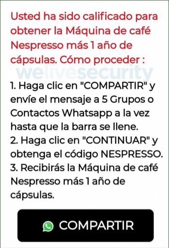 Phishing activo promete cafetera Nespresso gratis a través de WhatsApp - para-obtener-el-supuesto-premio